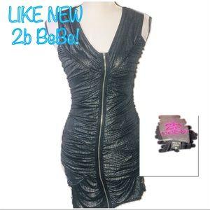 • 2B BEBE | LIKE NEW | Front Zip BodyCon Dress •
